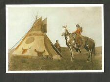POSTKARTE INDIANER- AMERIKA INDIAN Tipi PFERDE SQUAW ASSINIBOIN