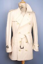 Mens 100% BURBERRY Double Breasted TRENCH Coat Light Beige Cotton U.S. 36