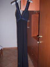 Vestito sartoria nero tg 42 44 S impero Antille lungo bretelle incrociate