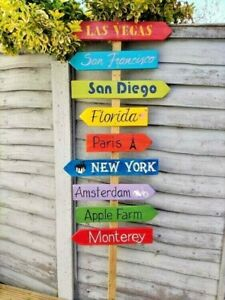LARGE PERSONALIZED COLOURFUL WOOD WEDDING DIRECTION SIGN SIGNPOST VENUE DECOR