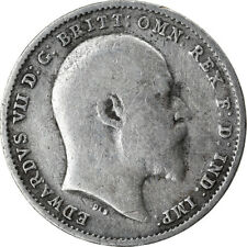 [#854841] Coin, Great Britain, Edward VII, 3 Pence, 1908, VF(30-35), Silver