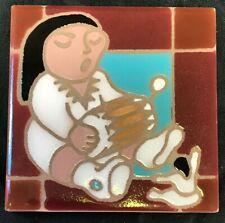Desert Dreams Hand Painted Tile 4x4 Trivet New Mexico Santa Fe Indian Girl Scene