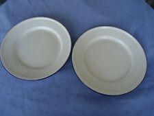2 vintage antique blue & white enamel dinner plates camping lucky elephant