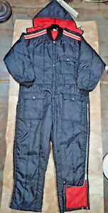 Vintage 70s 80s Black Ski Snow Suit Quilted Hooded Insulated Coverall Mens L Usa