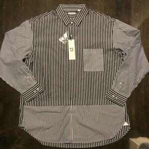 NWT +J UNIQLO JIL SANDER Mens Patchwork Striped Cotton Shirt XL Sold Out Rare