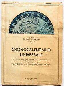 Crono calendario universale Cartaceo anno 1935 Cosimo Carrieri raro dispositivo