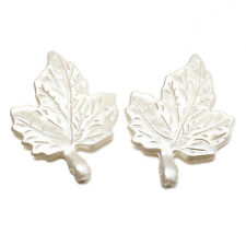 50pcs HOT White Acrylic Leaf Charms Pendants Crafts Jewelry Findings Ornaments D