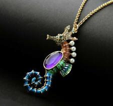New Fashion Betsey Johnson rare Alloy Rhinestone enamel Seahorse necklace Jewel