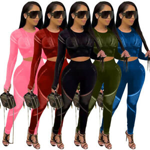 Fashion Women's Patchwork Long Sleeves O Neck Bodycon Club Jumpsuit 2pcs Party