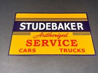 "VINTAGE STUDEBAKER AUTHORIZED SERVICE & PARTS 12"" BAKED METAL GASOLINE OIL SIGN"