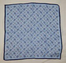 "Vintage TINO COSMA 100% Linen Blue Paisley Pocket Handkerchief 13"" x 13 1/2"""