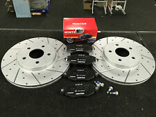 FOR JAGUAR X TYPE 2.0i 2.0D 2.5  DRILLED GROOVED FRONT BRAKE DISC MINTEX PAD
