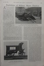 1903 BOER WAR ERA PRINT ~ MILITARY MOTOR TRACTION SHELTER WAGGON & AMBULANCE