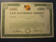 Old 1967 - K&M ELECTRONICS COMPANY - Stock Certificate - MARYLAND