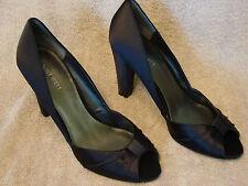 Nine West Womens Black Satin Peep Pump Shoe - Size 9M