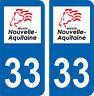 2 autocollants style immatriculation auto Département 33 NOUVELLE AQUITAINE