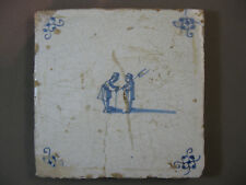 Antique Dutch tile human children's games 17th century -- free shipping