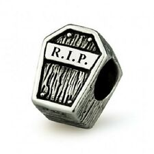Rest in Peace RIP Genuine Sterling Silver Solid Charm OHM Bead AAR019