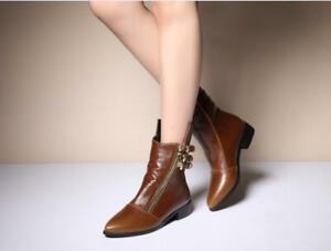 New Fashion Women Boots Metal Buckle Head Side Zipper Petent Leather Boot