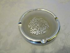 "FROSTED SILVER CITY GLASS OVERLAY ASHTRAY FLORAL STERLING RIM 6"" Elegant Vtg"