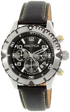 Nautica NAD20504G Black Dial Leather Strap Chronograph Men's Watch