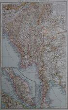 Victorian Mappa 1896 della Birmania & la penisola Malese il Times ATLAS 1st Gen