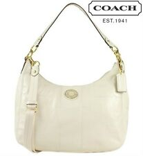 NWT Coach F19282 Signature Stripe Stitched Patent Leather Convertible Handbag
