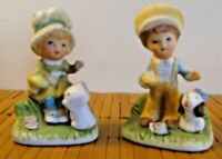 Homco Porcelain Figurines Girl with kitten & Boy with puppy #1430 Set of 2