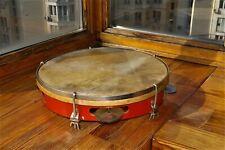 Antique Soviet musical instrument - a tambourine. Concert Percussion Instrument