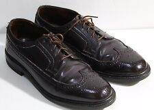 Vintage 60s John Martin Corfam Wing Tip Black Dress Shoes Brogue Size 8.5D