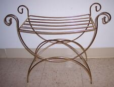 Vintage Hollywood Regency Gold Metal Vanity Stool Chair Bench