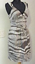 BCBG MAX AZRIA Sun Dress Size 2 Cocoa Brown White Print Cotton Sleeveless #1012