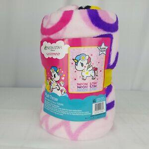 Tokidoki Neon Star Unicorno Plush Throw Blanket 50x60 Unicorn Fleece Blanket