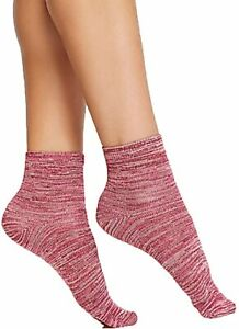 HUE Womens Super Soft Cropped Socks Beet Red - NWT