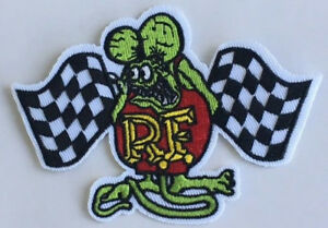 Rat Fink Xed Racing Flags --  embroidered cloth patch.   D030306