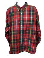 Polo Ralph Lauren Mens Red Green Long Sleeve Performance Flannel Shirt Size 3XB