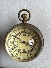 Work well ,Chinese old text old brass glass ball Mechanical watch ,Diameter:55mm