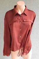💜 ZARA Casual Long Sleeve Shirt Top Brown Polka Dot Size M Buy7=FreePost L767