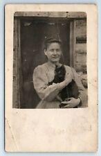 Vintage RPPC Postcard Woman Holding Black Cat Kitten Real Photo