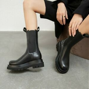 Womens Punk Leather Round Toe Elastic Pull On Mid Calf Chelsea Boots Flats Shoes