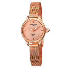 New Women's Akribos XXIV AK873RG Diamond Indexes Rose-tone Mesh Bracelet Watch