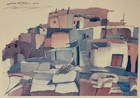 "The ""Village"" - Sari Staggs - 1983 - Signed Art Print - Southwest Desert Pueblo"