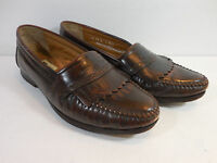 Mens Bass Loafers Brown Leather Cordovan Kiltie Slip On Boat Shoes Size 11 D Med
