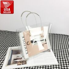 Transparent Pretty PVC Stylish Purse Clear Handbag Bag Tote Gold Silver Handles