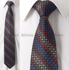 Red Blue Beige Waves Men Neckwear Necktie 100% Woven Silk 8 cm Wedding Tie