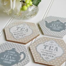 TEA Coaster Set of 4 Tied with a Jute Bow Great Gift