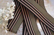 "1y Vintage 1.5"" Pink Black Stripe Grosgrain Ribbon Trim French Dress Hat Fedora"