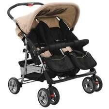 vidaXL Zwillingswagen Taupe Kinderwagen Geschwisterwagen Zwillingsbuggy Baby