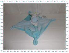 B - Doudou Plat Cheval  Vache Bleu Cocard Bandana Mots d'Enfants