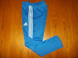 ADIDAS CLIMACOOL BLUE W/WHITE STRIPES ATHLETIC PANTS MENS MEDIUM EXCELLENT COND.